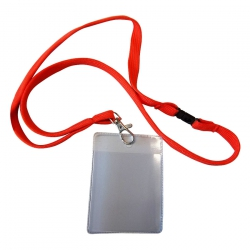Badge 70x85mm met lanyard rood