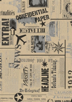 Cadeaupapier 30cm Newspaper Black Silver